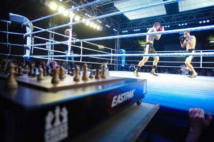 A ringside photo during a Chess Boxing match
