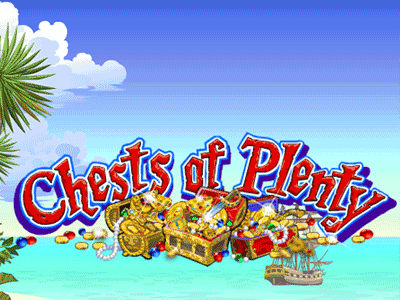 The logo from the Chests of Plenty slot machine