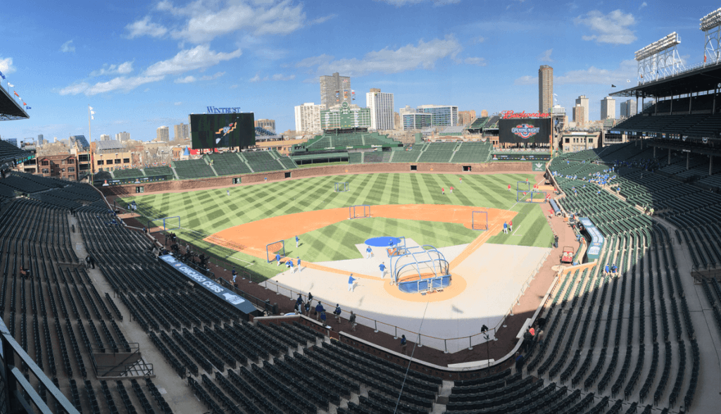 An image of Wrigley Field, home of the Chicago Cubs