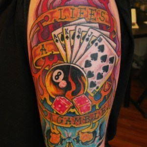 Life's a Gamble colour tattoo