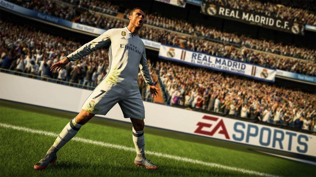 In-game shot of Cristiano Ronaldo celebrating a goal on FIFA 18
