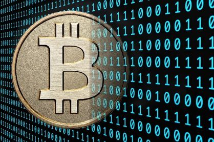 A shot of the Bitcoin logo, a popular cryptocurrency
