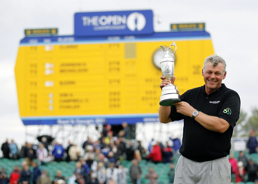 Darren Clarke pictured with The Open Championship trophy
