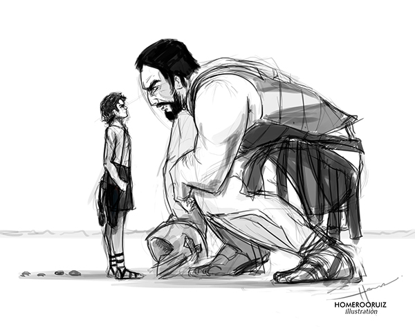 black and white sketch of David and Goliath