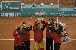 The Spanish teams celectrate beating Argentina (Image: AP)