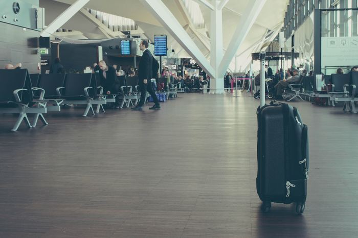 Inside an airport departure lounge