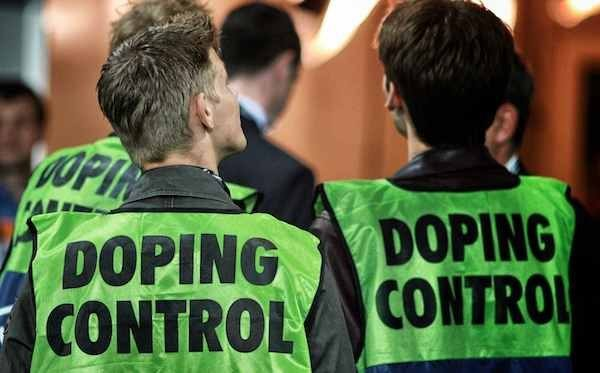 A photo of Doping Control staff at a live sporting event