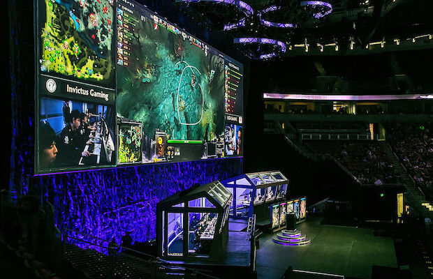 An image of a live Dota 2 gaming event