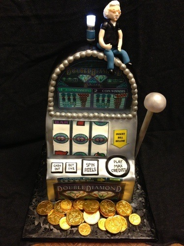 An image of a Double Diamond themed slots cake