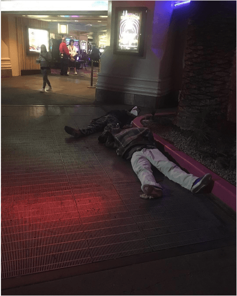Two drunken invidivuals passed out, outside a casino