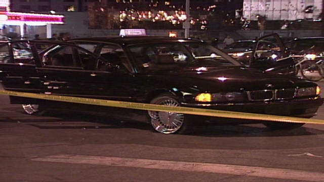 The scene from a drive-by shooting that killed rap artist Tupac Shakur