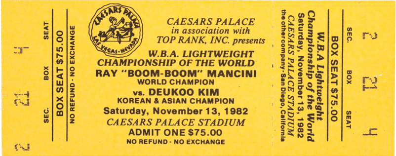 Duk Koo Kim vs Ray Mancini ticket