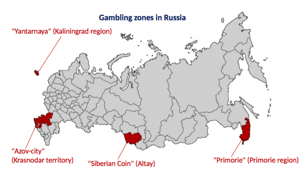 A map of Russia showing the areas where online gambling is allowed