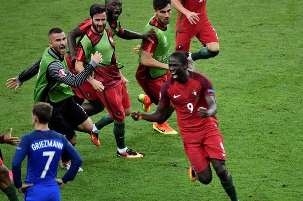 Eder celebrating scoring the winner in the Euro 2016 Final against France
