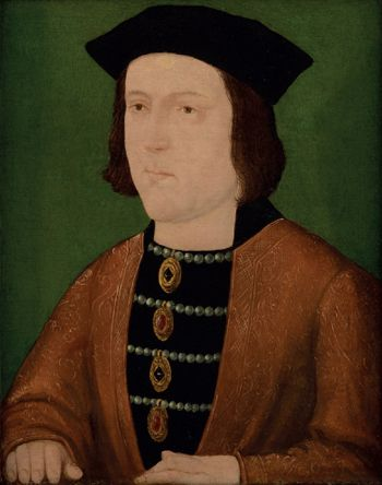 A painting of King Edward IV on a green background