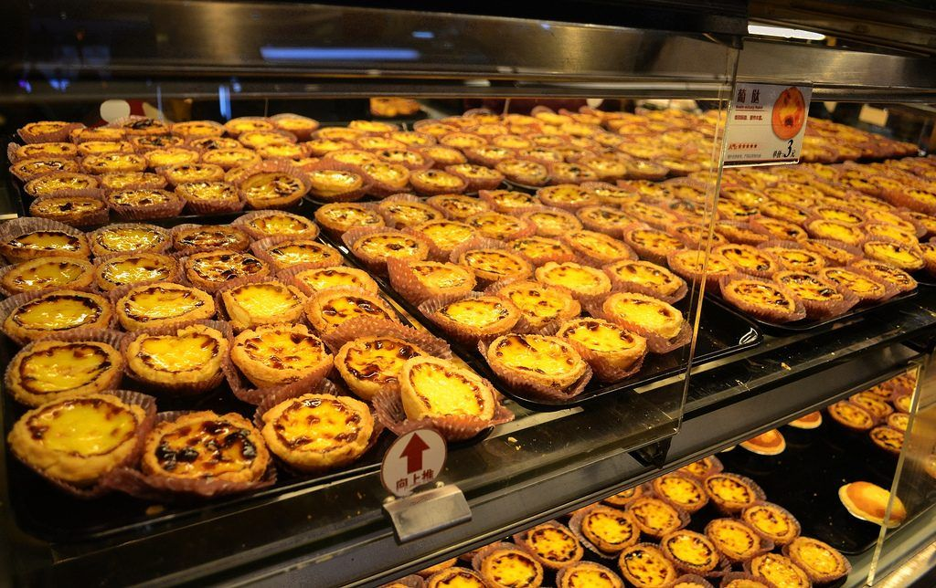 Egg tarts on display at a local store