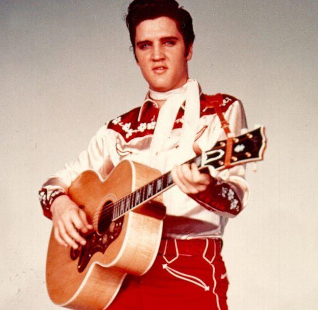 Elvis Presley promoting a Las Vegas show