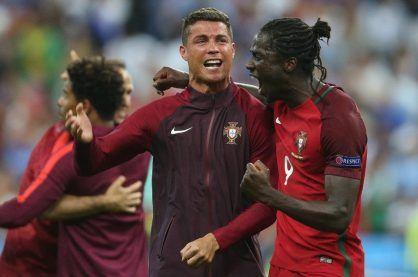 Cristiano Ronaldo and Eder celebrating winning the Euro 2016 Final