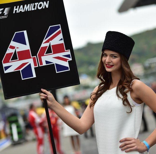 Formula 1 grid girl representing Lewis Hamilton