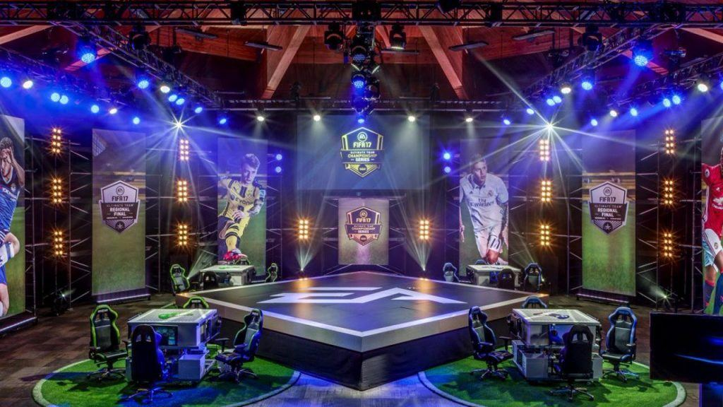 The gaming arena at an eSports FIFA event