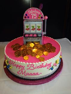 An image of a Fabulous 75 slots birthday cake