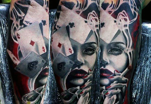 Female gambler and playing cards tattoo