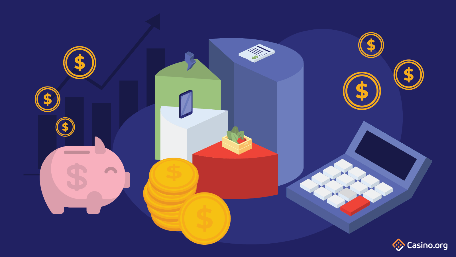Image of piggy bank, pie chart and calculator to show finance management.