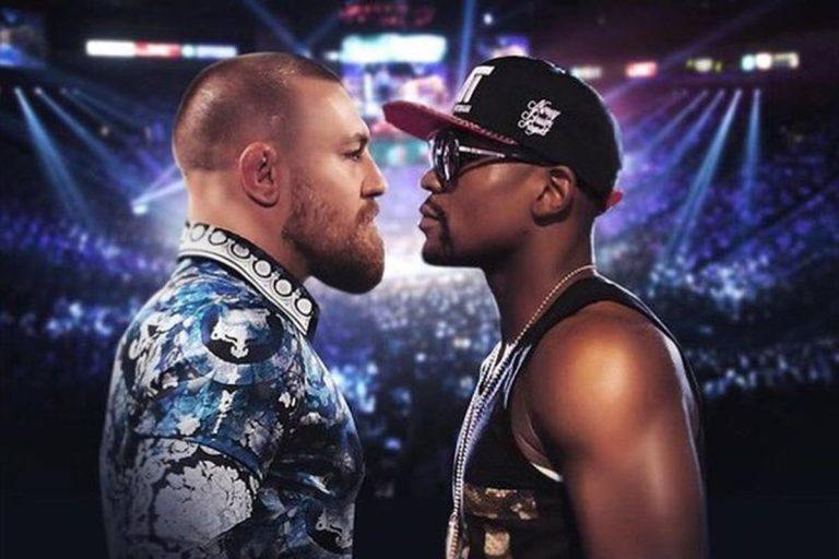 An image promoting the Conor McGregor and Floyd Mayweather fight