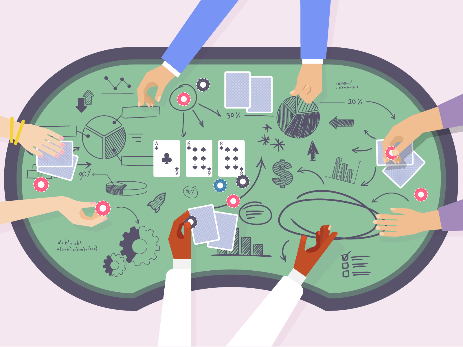 Poker table with maths symbols drawn all over it