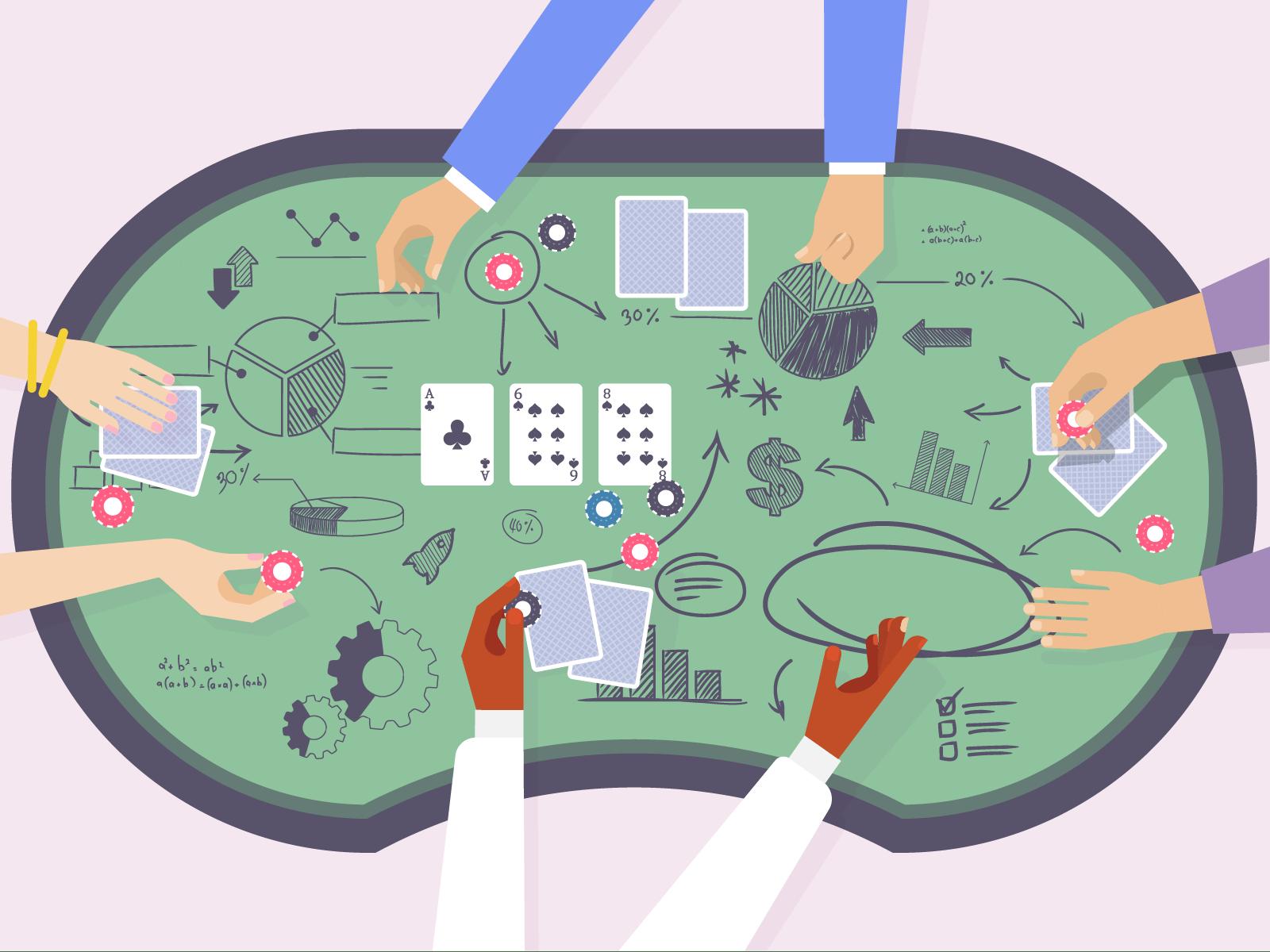 Meja poker dengan simbol matematika digambar di atasnya