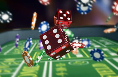 Gambling dice and casino chips