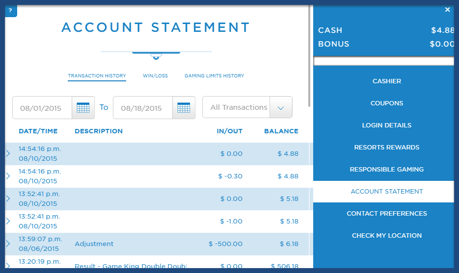 A screenshot of a gambling account history