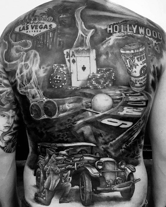 A full back tattoo of gambling related images