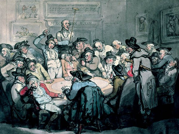 gamblers in an 18th century gambling den