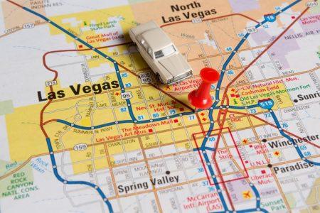 Pushpin and Car on Map, Las Vegas, NV.