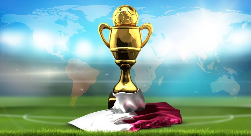 World map. Qatar flag with golden trophy soccer cup. 3d rendering football stadium