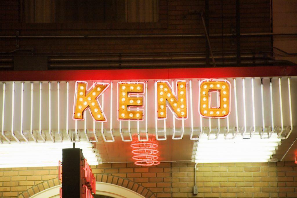 neon keno game sign