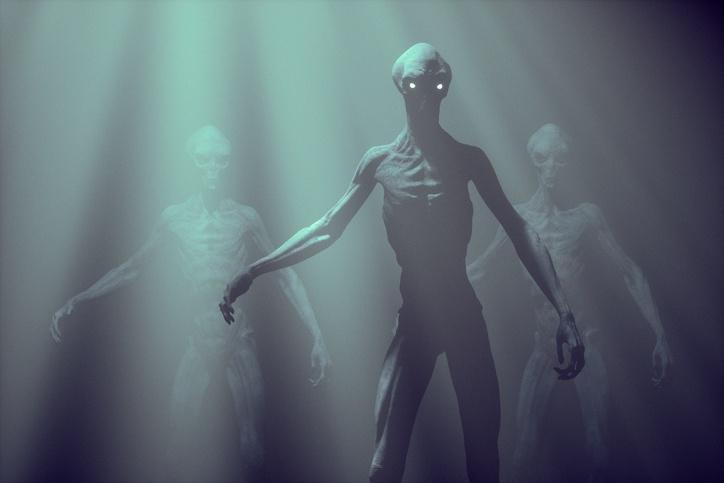 Alien creature in fog.
