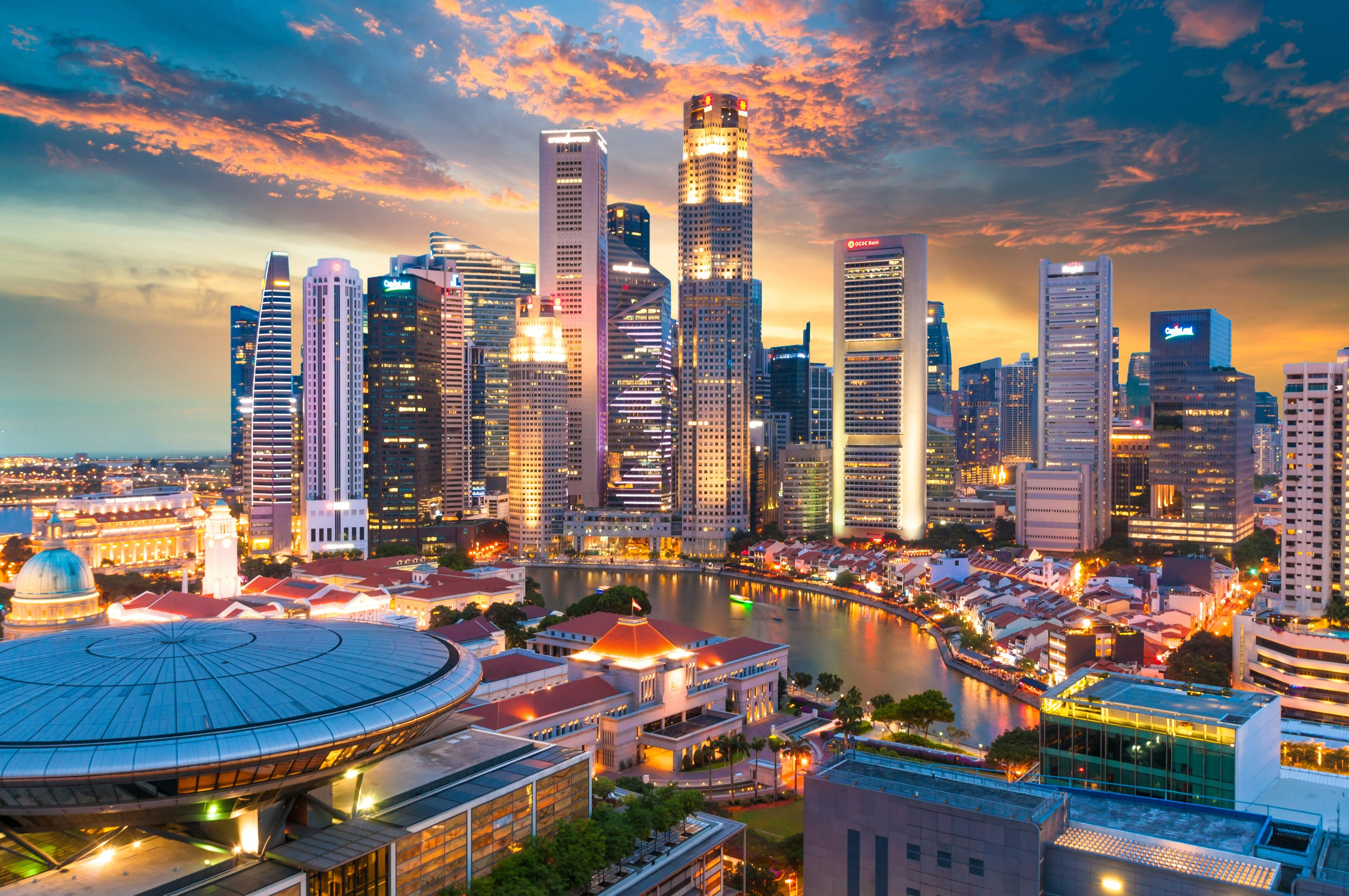 Panoramic view cityscape in Singapore city.