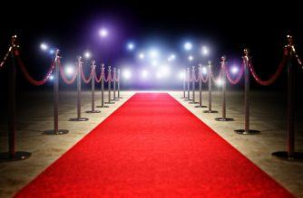 red carpet and golden barrier 3d rendering image