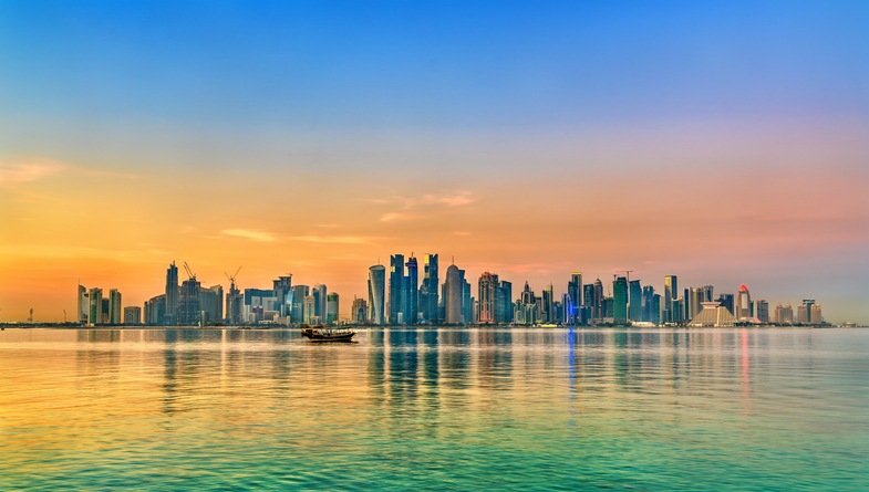 Skyline of Doha at sunset. Qatar, the Middle East.