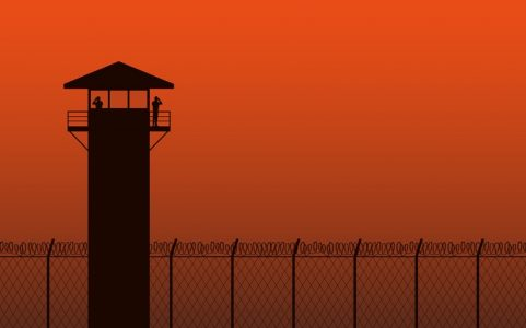 Silhouette watch tower and barbed wire fence in flat icon design on orange color background