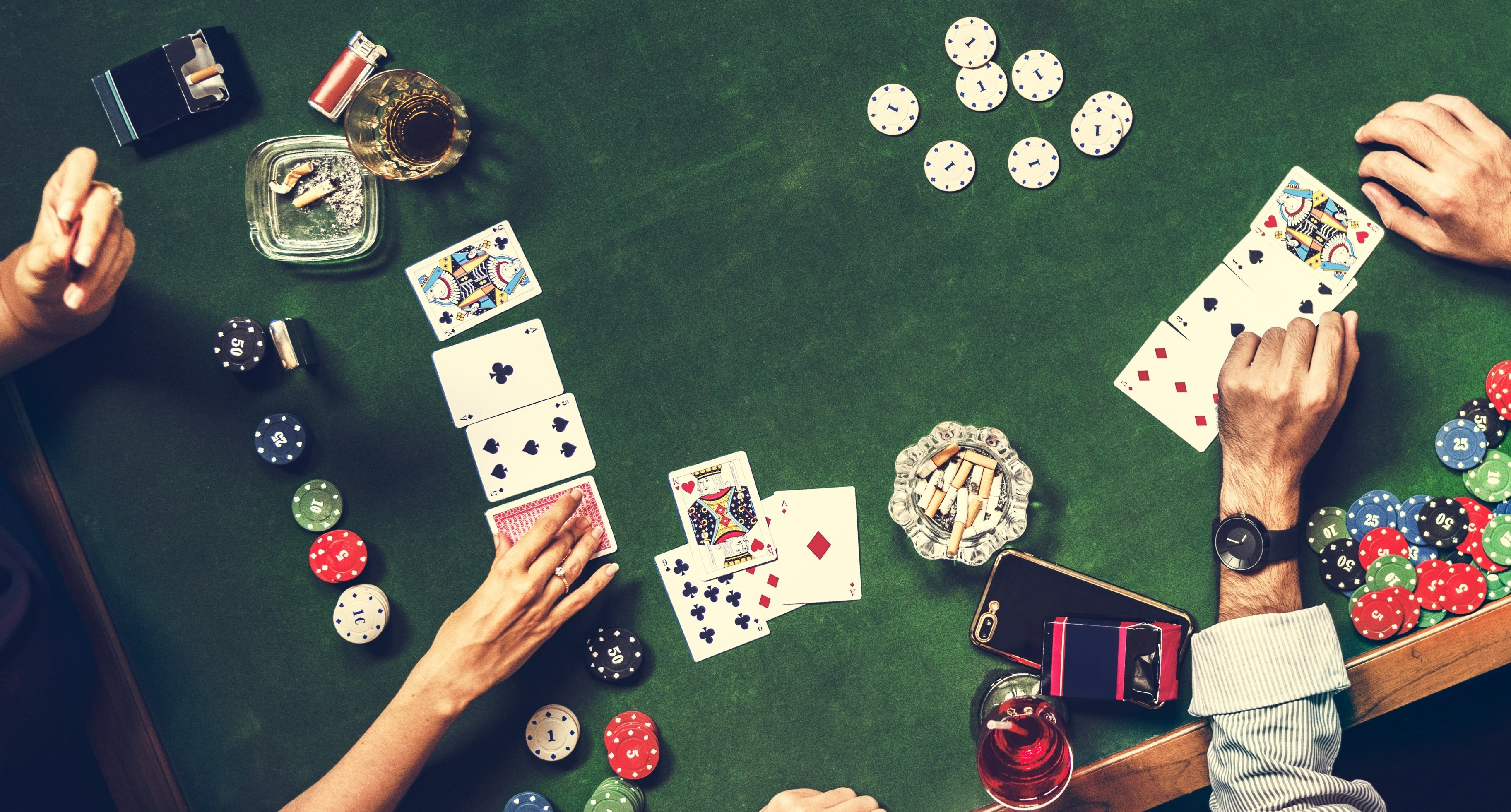 Casino chips and card game.