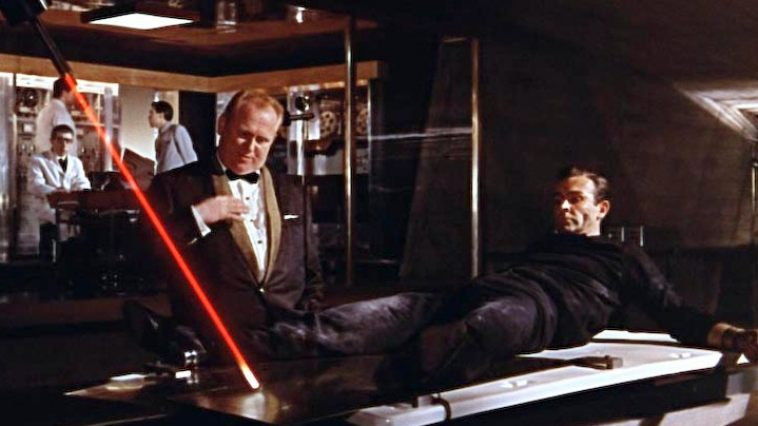 A scene from Goldfinger, a famous James Bond movie