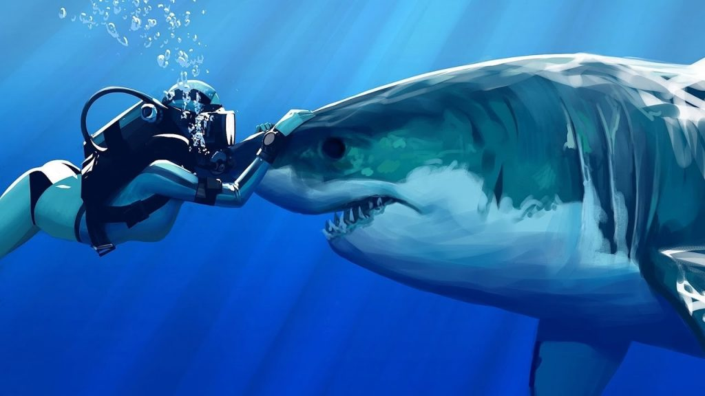 A painting of a scuba diver and great white shark meeting head on