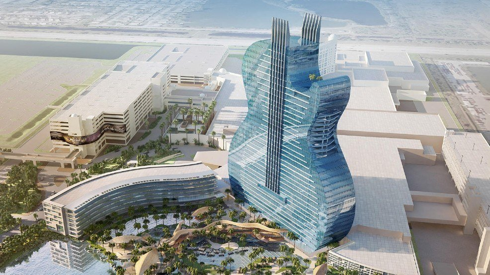 The plans to build a giant guitar building at Hard Rock Casino