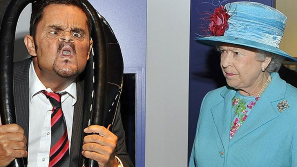 The Queen judging the sport of Gurning
