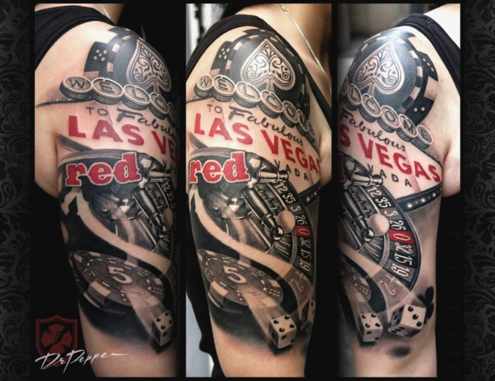 Half sleeve Las Vegas gambling tattoo