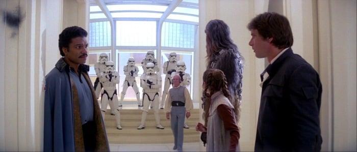 Han Solo and Lando in an intense scene
