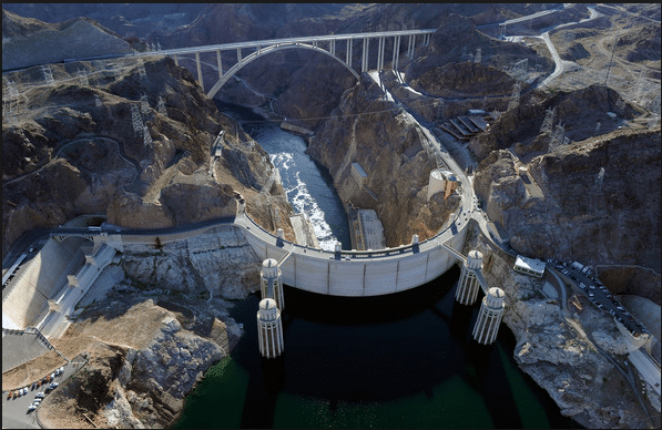 The Hoover Dam, located 45 minutes outside of Las Vegas